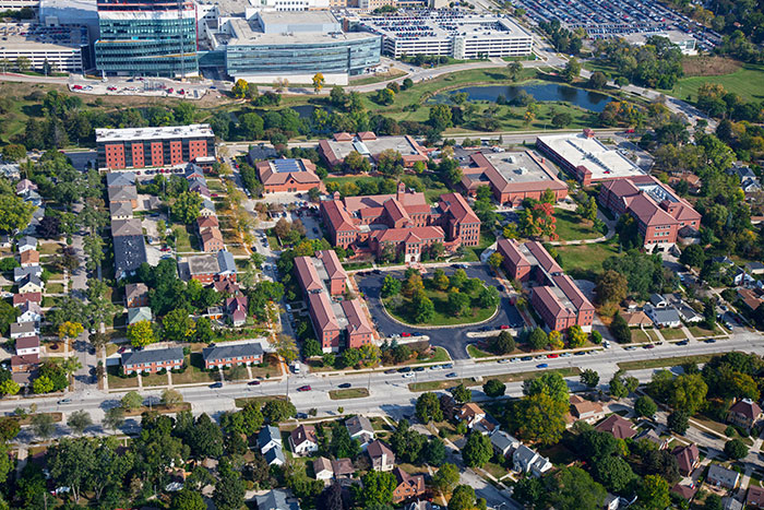2019 aerial view of campus with MRMC